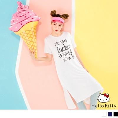 HELLO KITTY開衩下襬斑駁印字長版上衣.3色