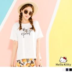 HELLO KITTY高含棉袖口下襬抽鬚上衣.3色
