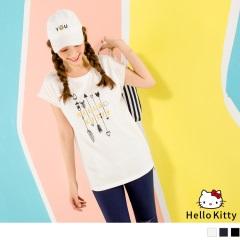 KITTY配色圖騰鬚邊袖設計連袖上衣‧3色