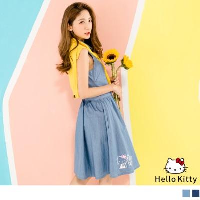 0623新品 HELLO KITTY印花排釦牛仔無袖洋裝.2色