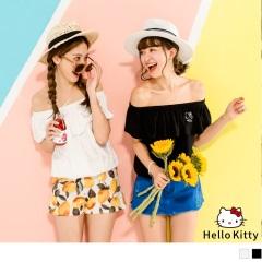 KITTY夏日系列荷葉邊一字領口純棉上衣.2色