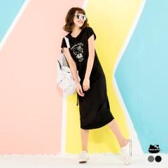 HELLO KITTY~夏日口袋造型連帽長洋裝.2色