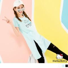 KITTY夏日系列~太陽椰子樹口袋開衩長版上衣.3色