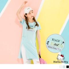 KITTY夏日系列~椰子樹口袋下襬開衩長版上衣.3色