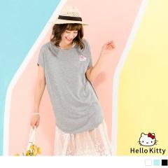 HELLO KITTY夏日西瓜燙印連袖長版上衣.3色