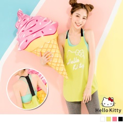 KITTY運動系列~燙印細肩帶後背鏤空無袖上衣.4色