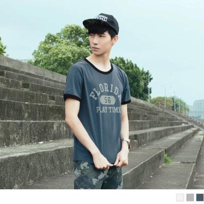 【酷夏黑白T♥任選69折】字母印花立體數字塊滾邊配色圓領短袖上衣.3色
