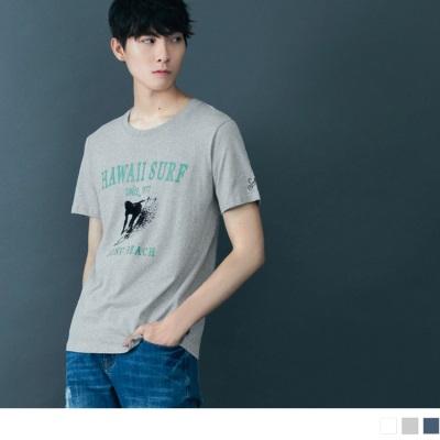 【酷夏黑白T♥任選69折】絨布感衝浪造型字母燙印刺繡圓領短袖上衣.3色