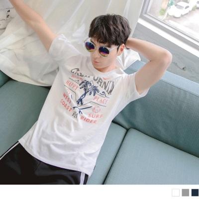 【酷夏黑白T♥任選69折】椰子樹字母色彩印花圓領短袖上衣.3色