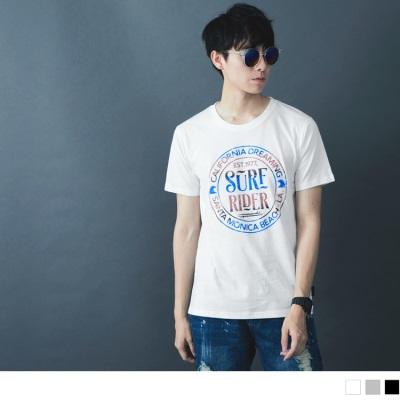 【酷夏黑白T♥任選69折】漸層圈配色字母印花圓領短袖上衣.3色
