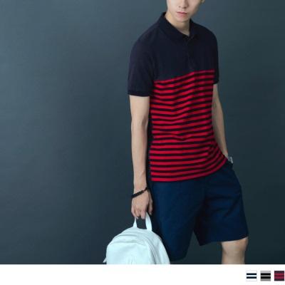 素色拼接橫條紋短袖POLO衫.3色