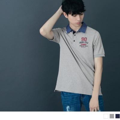 牛仔配色領字母刺繡造型短袖POLO衫.3色
