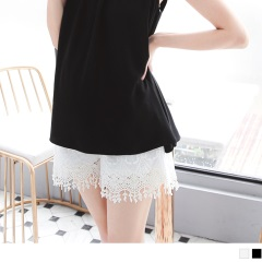 0629新品 純色滿版雕花蕾絲棉質孕婦短褲‧2色
