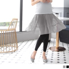 百摺雪紡拼接假兩件裙擺孕婦內搭褲‧2色