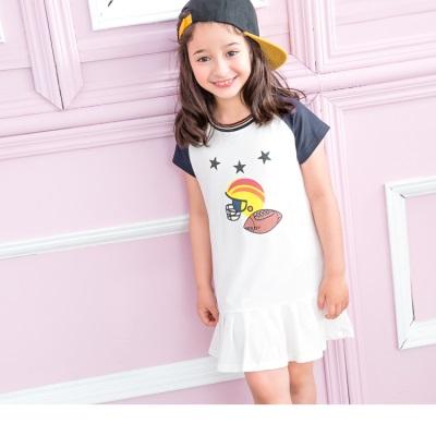 拼接袖百摺足球印花設計短袖洋裝‧童1色