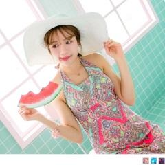 0508新品 繽紛印花繞頸美背連身裙式泳裝‧3色