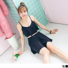 0606新品 三件式荷葉繞頸綁帶褲裙泳裝‧2色