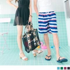 0522新品 印花拼接輕巧防水子母沙灘手提包.4色