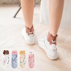 0721新品【特價款】繽紛點點立體層次動物短筒襪.4色