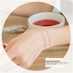 0613新品 【特價款】珍珠碎鑽點綴別針造型層次手鍊