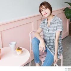 0817新品 橫條紋開襟襯衫領設計高棉量長版寬鬆上衣.2色