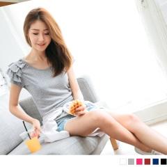 0726新品 台灣製造.多色滿版點點圖案層次荷葉袖口上衣.6色
