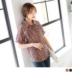 0523新品 滿版拼色印花荷葉邊點綴短袖襯衫.2色
