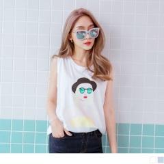 0626新品 台灣品質.墨鏡女孩燙印竹節棉無袖上衣.2色