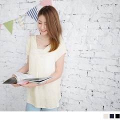 光澤感立體壓皺下襬開衩前短後長V領上衣.3色