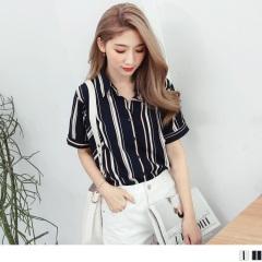 0609新品 立領配色直條紋造型排釦襯衫.2色
