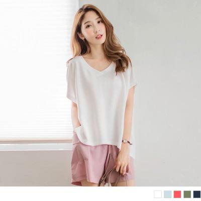 0601新品 純色好質感前短後長寬鬆彈性V領上衣.5色