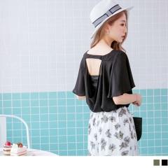 0523新品 素色V領口挖空美背設計荷葉袖雪紡上衣.2色