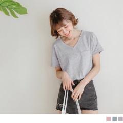 0524新品 純色竹節棉袖口反褶透膚V領上衣.3色