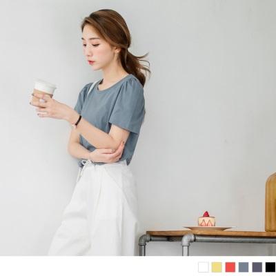 0615新品 素面多色打褶公主袖高含棉上衣.6色