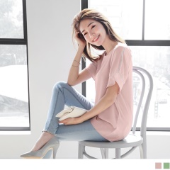 【周末限定♥現折100】氣質透膚雪紡拼接緹花寬襬袖圓領上衣.2色