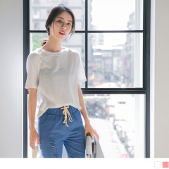 【周末限定♥現折100】台灣製造.簡約英文拼字燙印高含棉上衣.2色