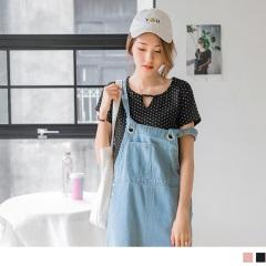 【周末限定♥現折100】台灣製造.滿版點點圖案小V領造型上衣.2色