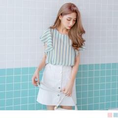 0525新品 配色直條紋荷葉袖口雪紡上衣.2色