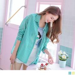 0526新品 配色直條紋撞色造型前短後長襯衫.2色