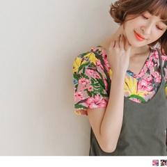 0614新品 滿版繽紛花朵圖案V領口上衣.2色