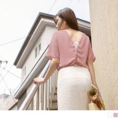 0817新品 性感後背鏤空交叉綁帶雪紡拼接寬袖上衣.2色