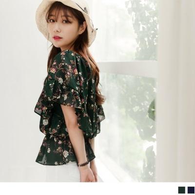0628新品 浪漫花朵圖案鬆緊領口荷葉傘袖縮腰上衣.2色