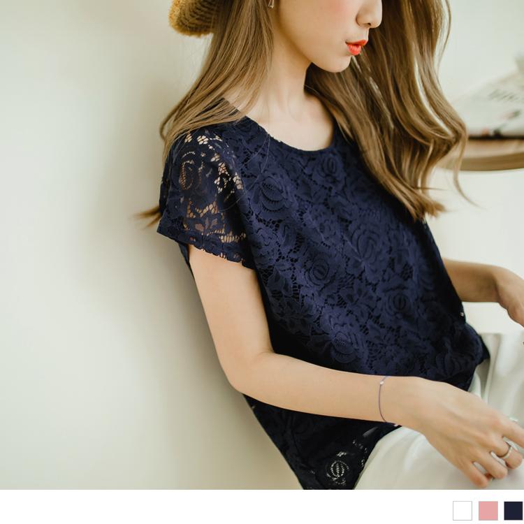 素色浪漫蕾絲設計連袖上衣