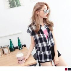0605新品 配色格紋反褶連袖造型高含棉襯衫.2色