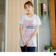 0614新品 粉嫩色英文字燙印拼布造型竹節棉上衣.2色