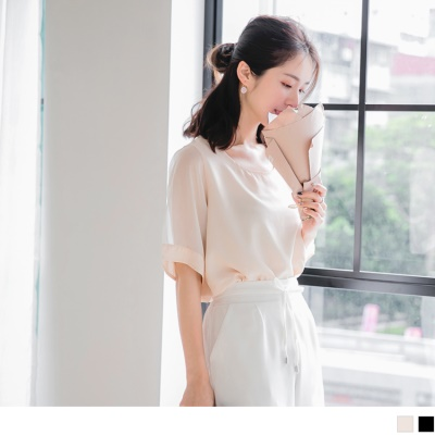 0621新品 純色透膚拼接五分袖輕薄上衣.2色