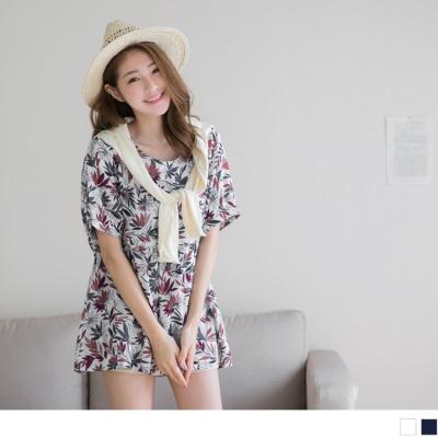 0616新品 滿版花朵圖案抓皺設計娃娃剪裁長版上衣.2色