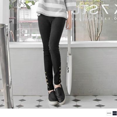 小腿排釦造型輕雪花刷色鬆緊彈力窄管褲.4色