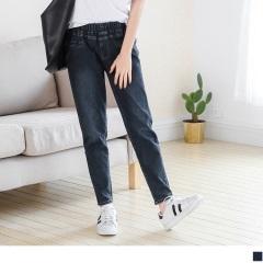 0523新品 腰圍鬆緊刷白設計彈性錐形牛仔褲