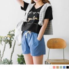 0807新品 鬆緊抽腰素面糖果色高含棉休閒短褲.6色